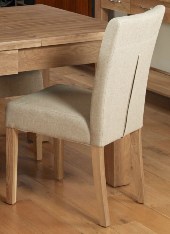 Baumhaus Mobel Oak Biscuit Fabric Dining Chair (Pair)