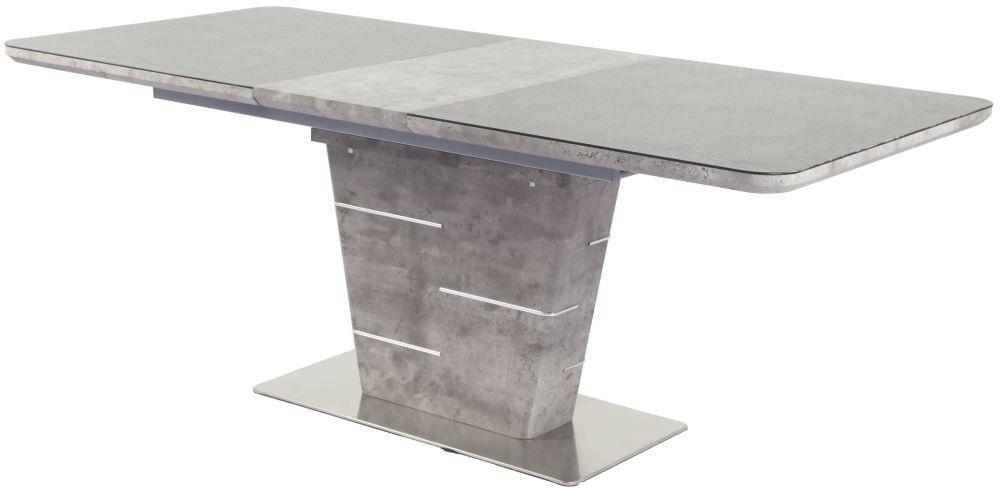 Urban Deco Rimini Ceramic Effect Taupe Glass 160cm Extending Dining Table
