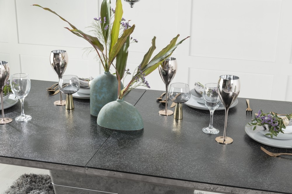 Urban Deco Rimini Ceramic Effect Black Glass 160cm-200cm Extending Dining Table