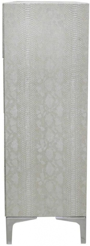 Clearance Half Price - Enna Silver Faux Snakeskin 4 Drawer Chest - New - Z1089