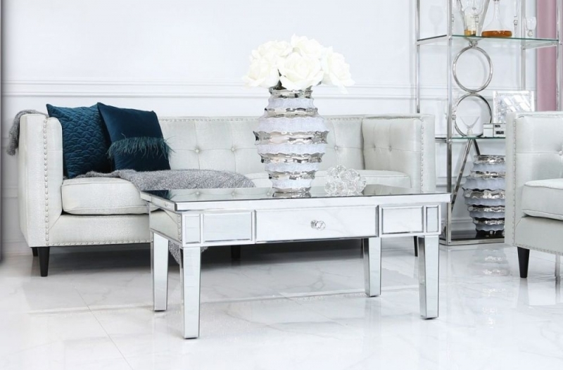 Clearance Half Price - Paolo Silver Mirrored Storage Coffee Table - New - Z1074