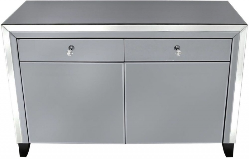 Clearance Half Price - Salerno Smoked Mirrored Sideboard - New - Z1083