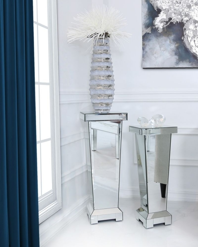 Clearance Half Price - Paolo Mirrored Large Pedestal - New - Z1085