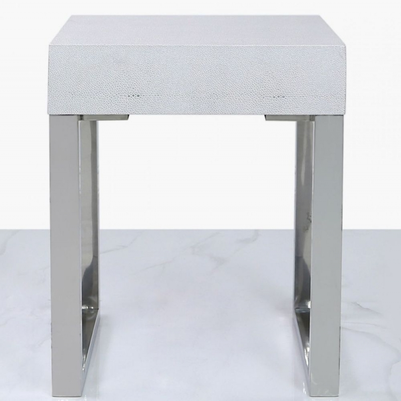 Enna Silver Faux Stingray Leather 1 Drawer End Table