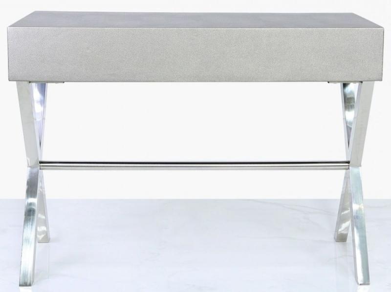 Lodi Grey Faux Leather and Chrome Console Table