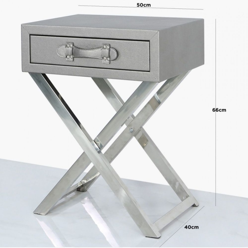 Lodi Grey Faux Leather and Chrome End Table
