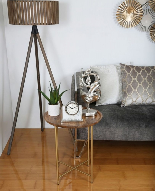 Milo End Table - Natural Wood and Gold