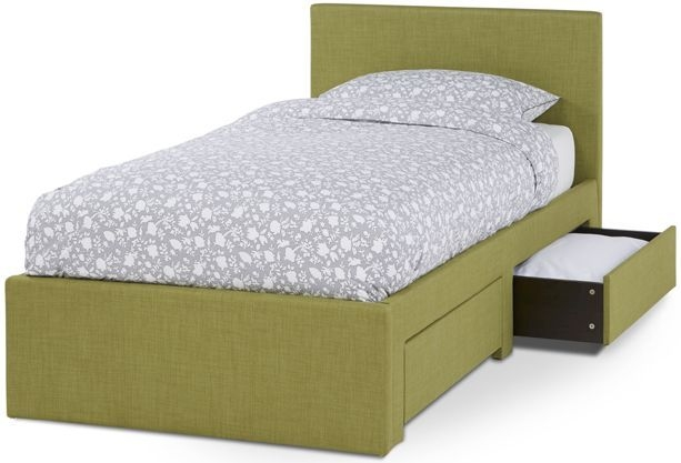 Serene Scarlett Olive Fabric 3ft Single Bed with 2 Drawer