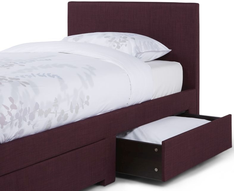 Serene Scarlett Plum Fabric 3ft Single Bed with 2 Drawer