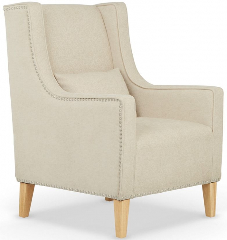Serene Leven Cream Fabric Chair with Footstool