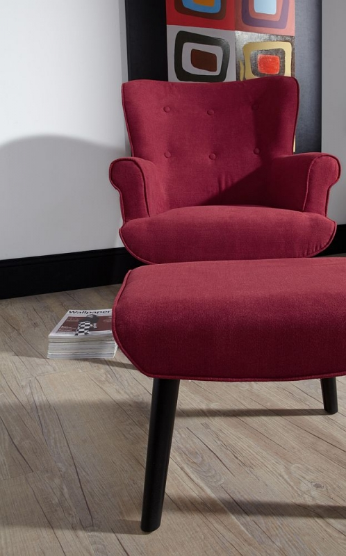 Serene Oban Red Fabric Armchair