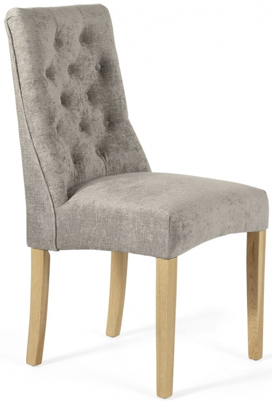 Serene Fulham Mink Fabric Dining Chair with Oak Legs (Pair)