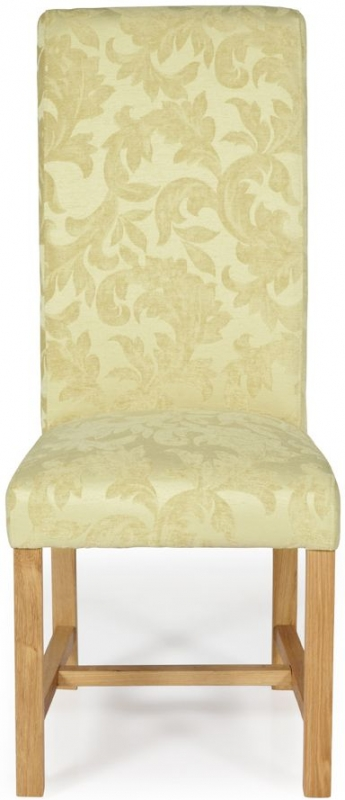 Serene Greenwich Oatmeal Floral Fabric Dining Chair with Oak Legs (Pair)