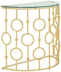 Serene Alyssa Console Table - Glass and Golden