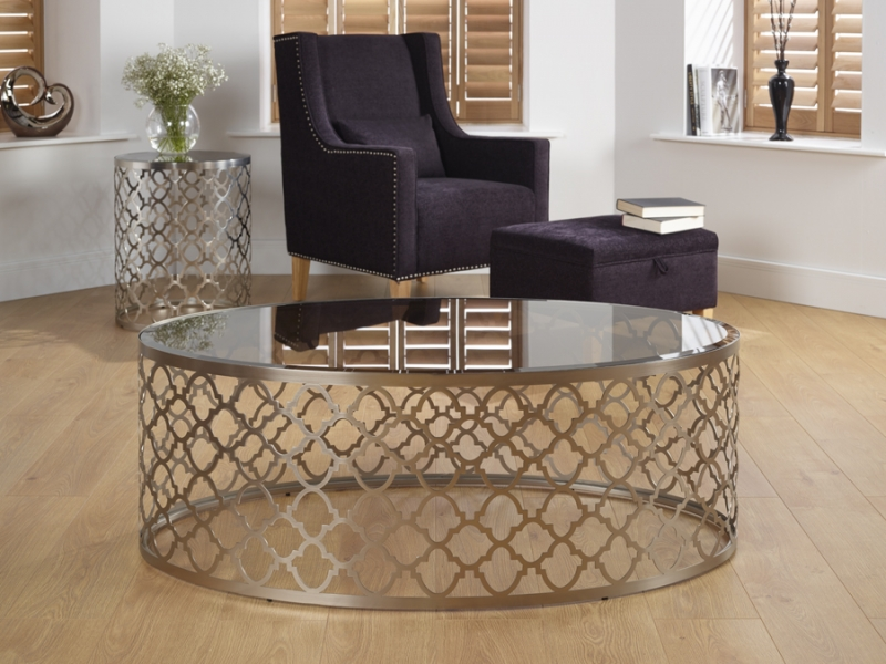 Serene Bianca Coffee Table - Glass and Chrome