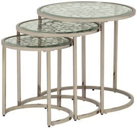 Serene Sachi Nest of 3 Table - Antique Silver and Glass