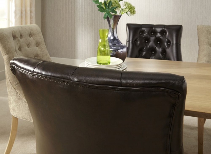 Serene Hampton Brown Leather Dining Chair with Oak Legs (Pair)