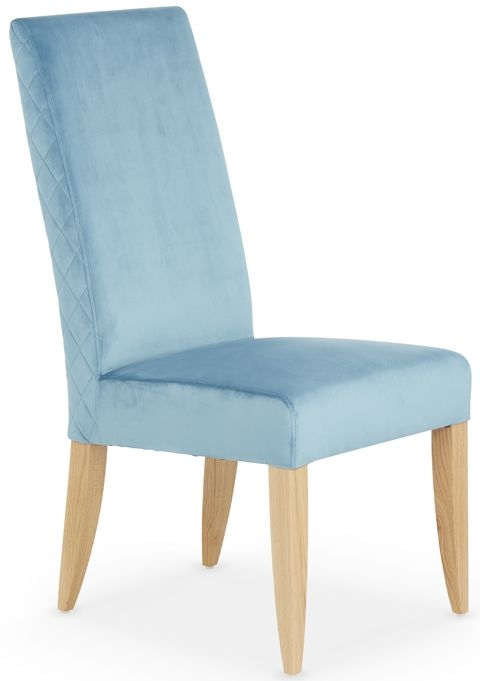 Serene Hendon Cyan Velvet Dining Chair with Oak Legs (Pair)
