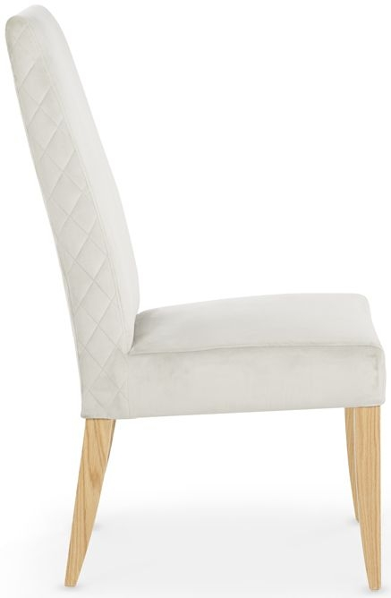 Serene Hendon Silver Velvet Dining Chair with Oak Legs (Pair)
