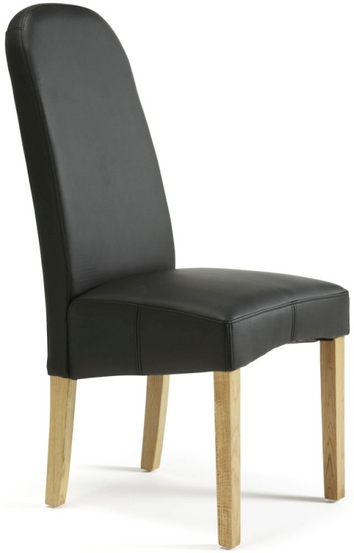 Serene Marlow Black Faux Leather Dining Chair with Oak Legs (Pair)