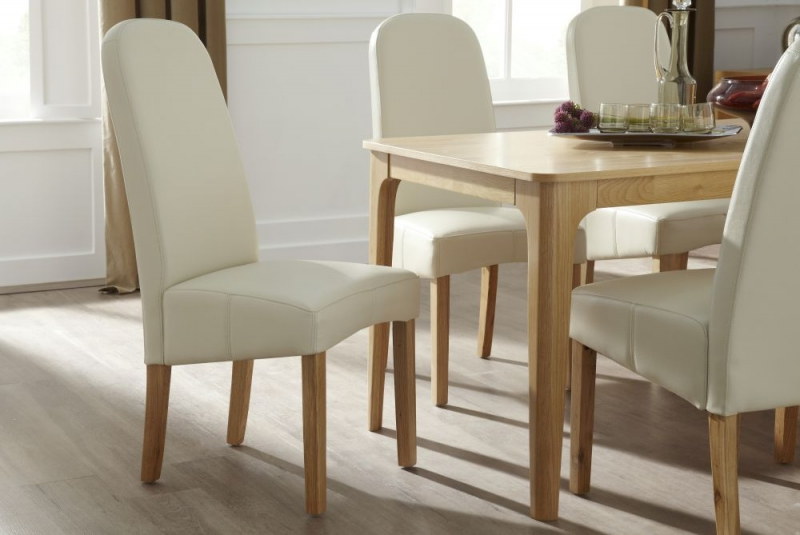 Serene Marlow Cream Faux Leather Dining Chair with Oak Legs (Pair)
