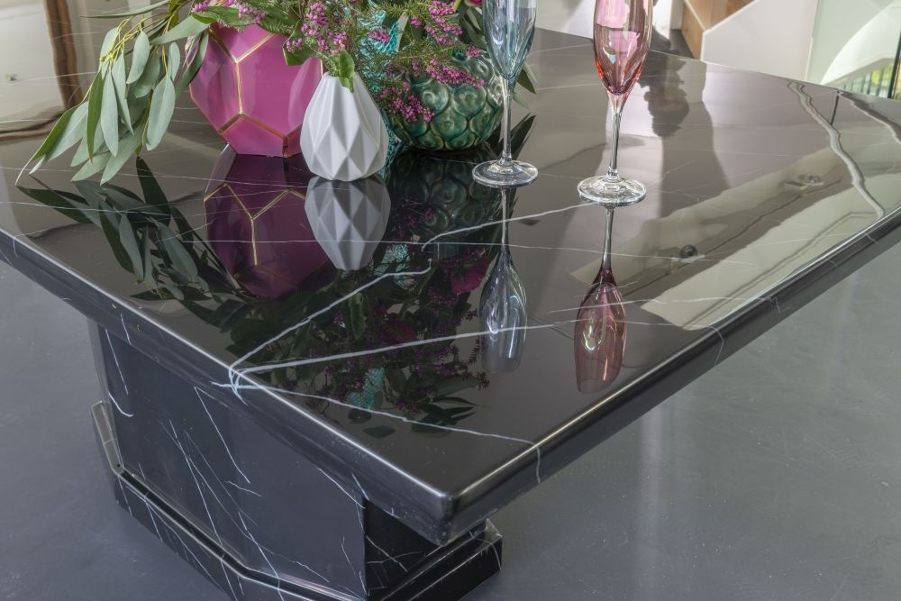 Urban Deco Naples 200cm Black Marble Dining Table