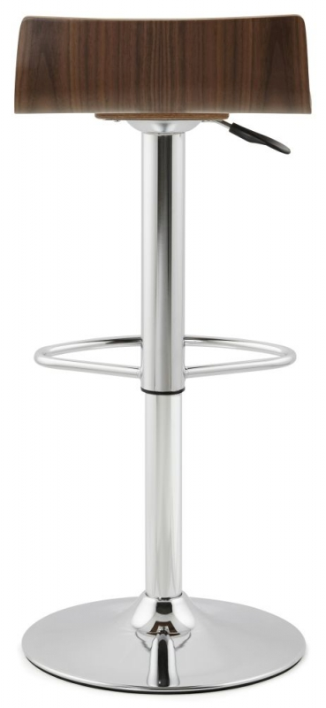 Haceby Walnut Stainless Steel Gas Lift Bar Stool - (Pair)