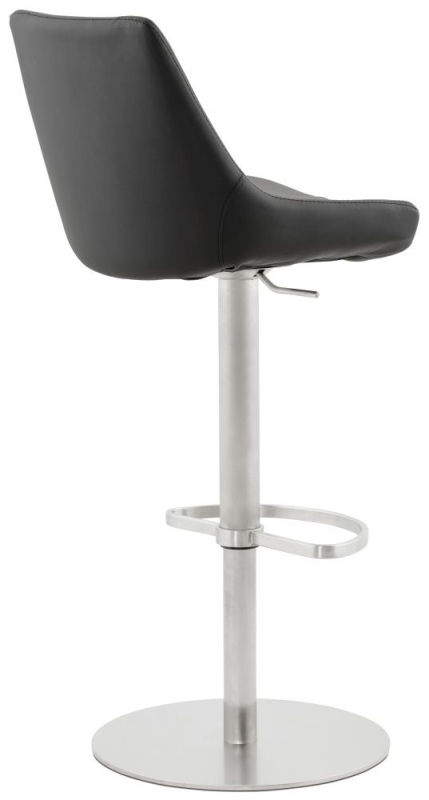 Sovana Black Stainless Steel Gas Lift Bar Stool