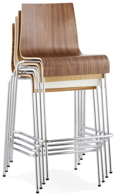Nico Walnut Stainless Steel Small Bar Stool - (Set of 4)