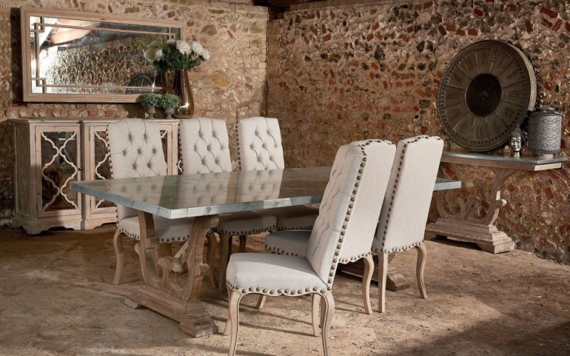 Asbury Reclaimed Pine Studded Cream Fabric Dining Chair with Bronze Nails (Pair)