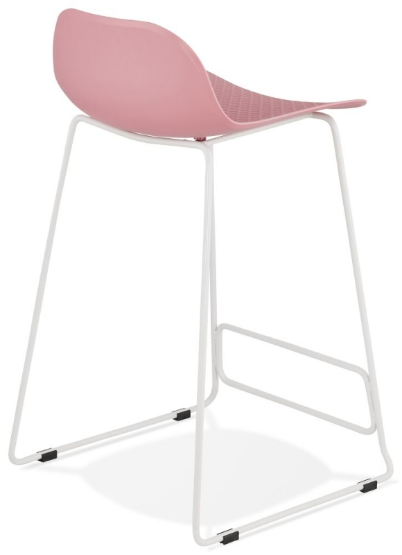 Barra Mini Pink and White Steel Snack Bar Stool