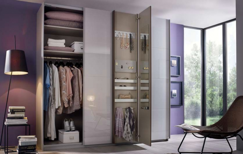 Rauch Tura 2 Door Sliding Wardrobe in White and Royal Walnut - W 226cm