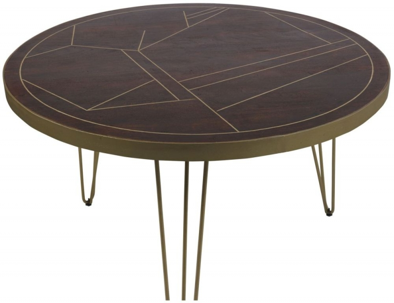 Indian Hub Mango Dark Gold Round Dining Table