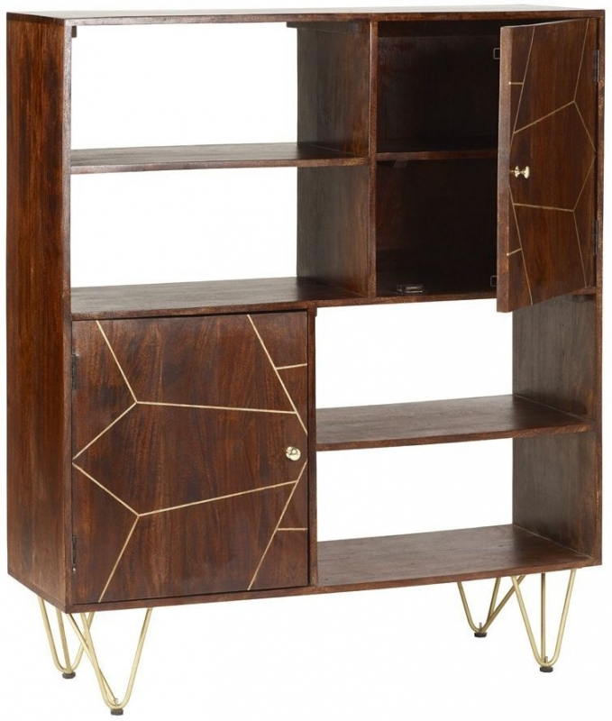 Indian Hub Mango Dark Gold Display Cabinet