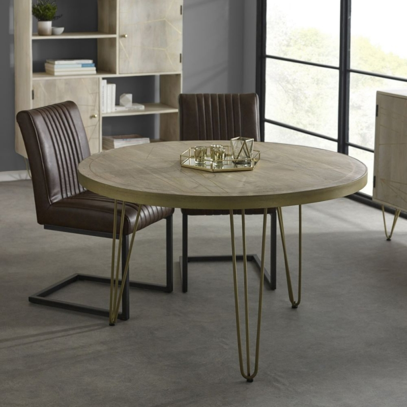 Indian Hub Mango Light Gold Round Dining Table