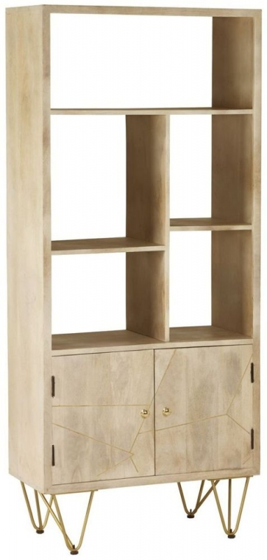 Indian Hub Mango Light Gold Large Bookcase