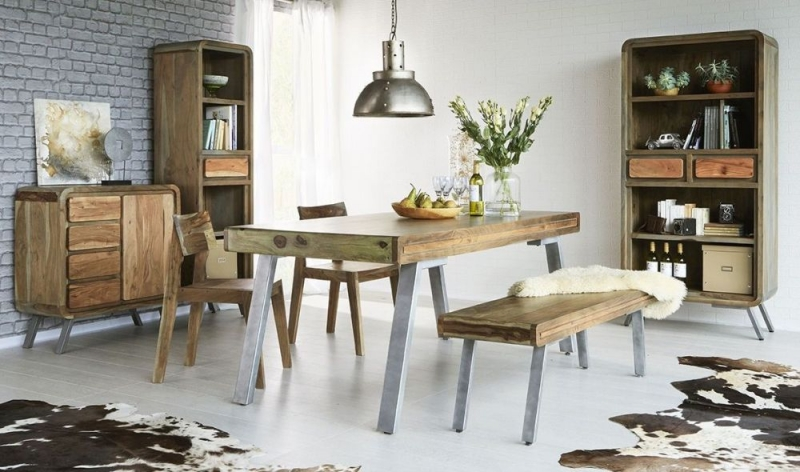 Indian Hub Aspen Iron and Wood Large Dining Table