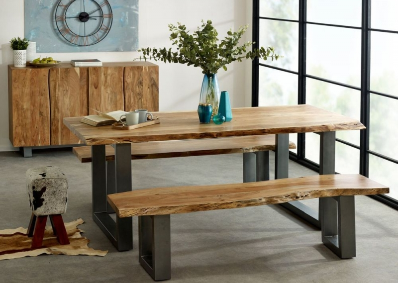 Indian Hub Baltic Live Edge Large Dining Table