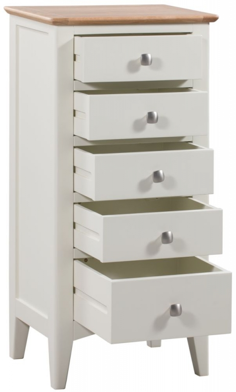 Lowell 5 Drawer Tall Chest - Oak and White Painted