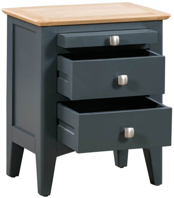 Lowell Oak and Blue Painted Bedside Cabinet