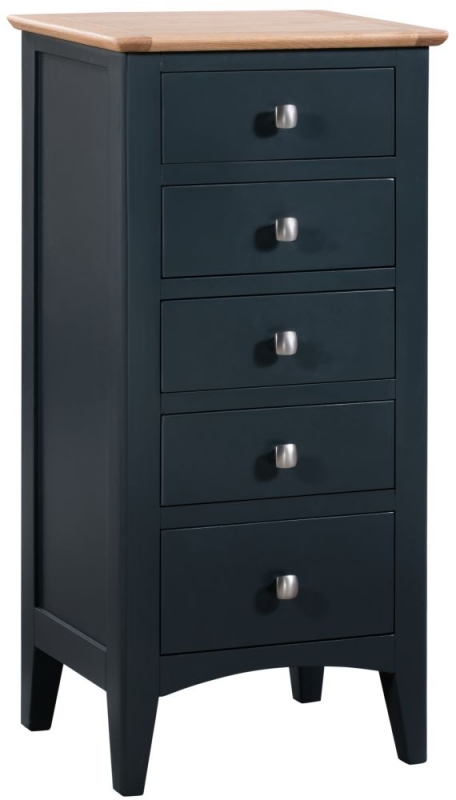 Lowell Oak and Blue Painted 5 Drawer Tall Chest