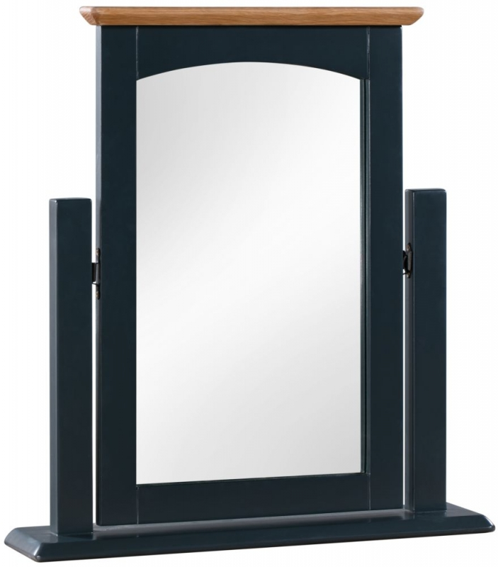 Lowell Dressing Mirror - Oak and Blue Painted