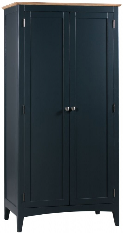 Lowell Oak and Blue Painted 2 Door Wardrobe