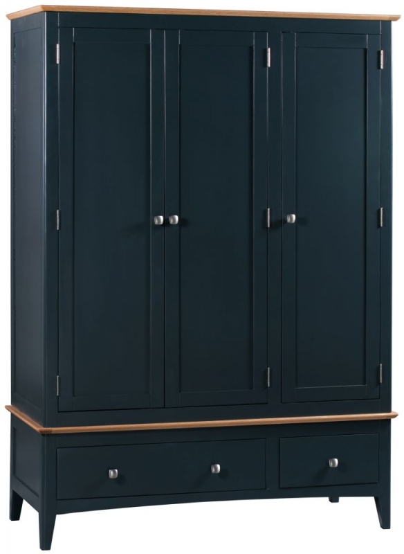 Lowell Oak and Blue Painted 3 Door 2 Drawer Wardrobe