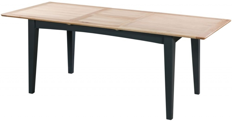 Lowell Large Extending Dining Table - Oak and Blue Painted