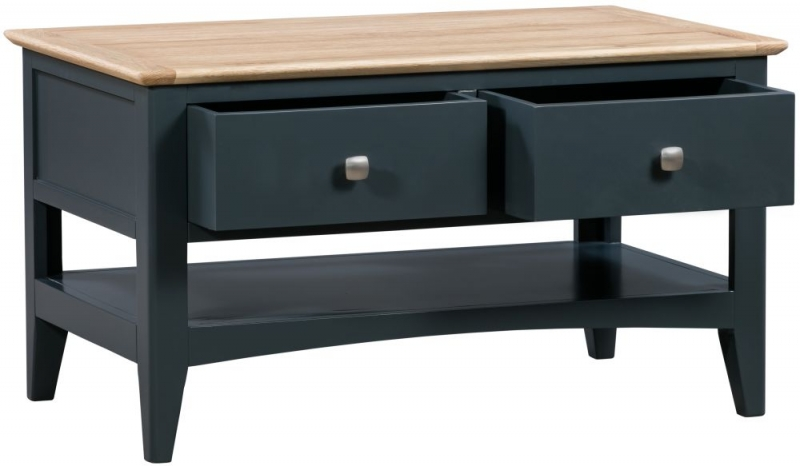 Lowell Oak and Blue Painted 2 Drawer Coffee Table