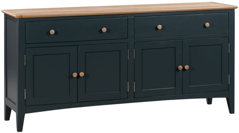 Lowell Large Sideboard - Oak and Blue Painted