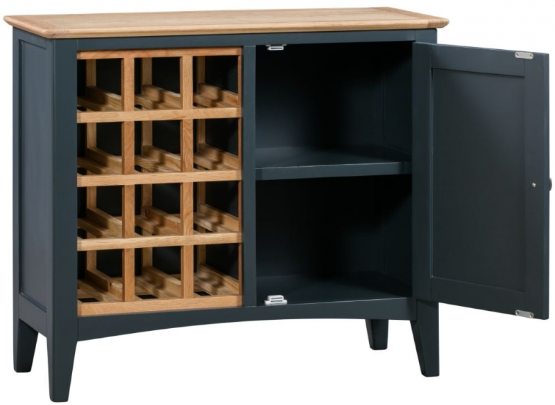 Lowell Wine Cabinet - Oak and Blue Painted