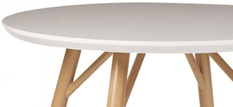 Contemporary High Gloss White Round Dining Table