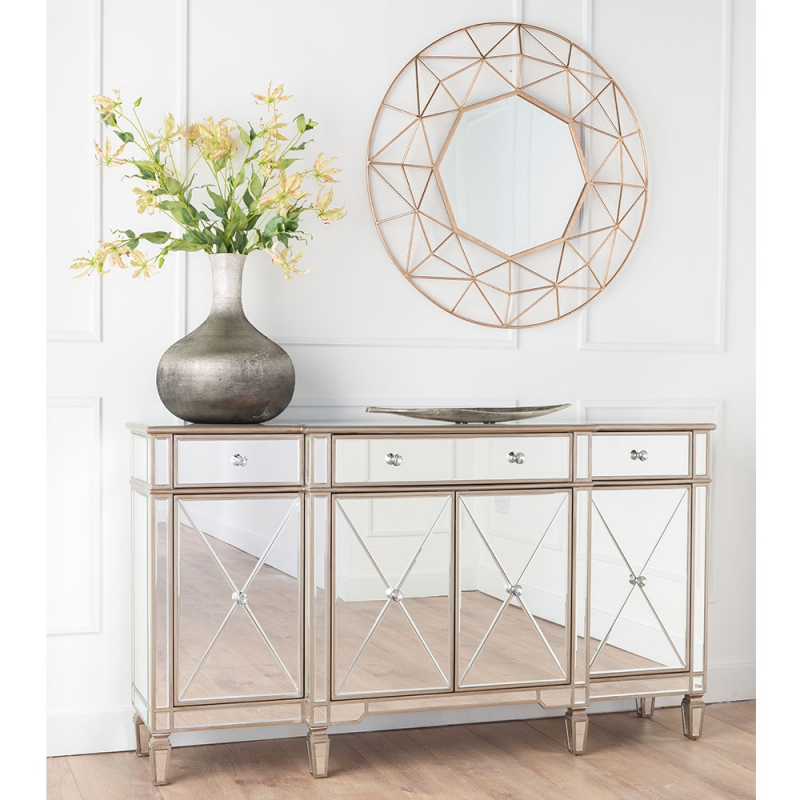 Urban Deco Antoinette Mirrored Large Sideboard
